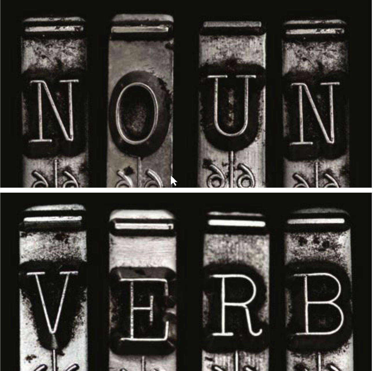 noun and verb spelled out with typewriter keys