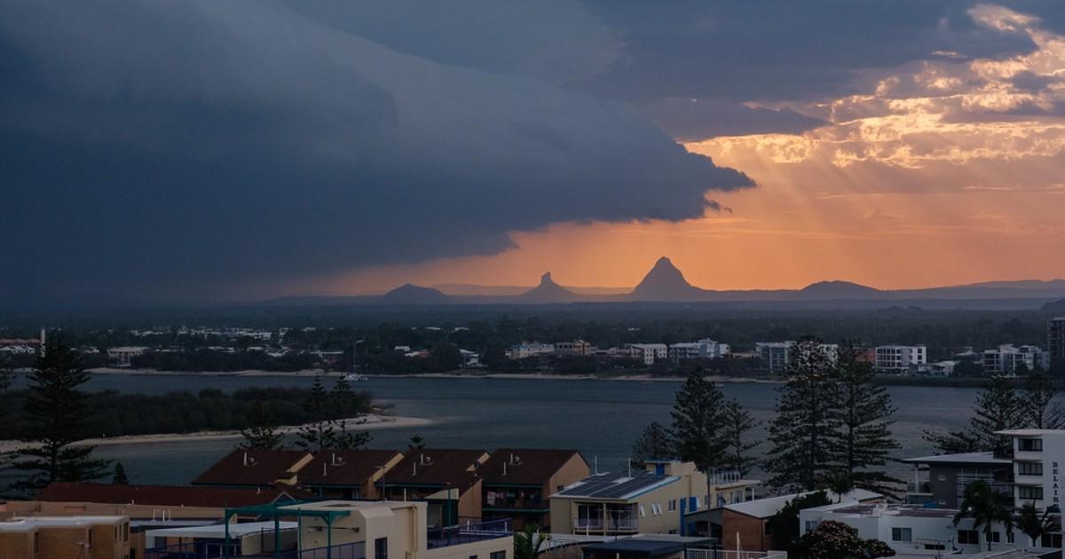 A storm approaches a city