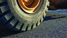 Closeup of tire on road