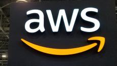 AWS sign at HIMSS