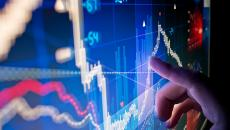 Finger pointing to line graph