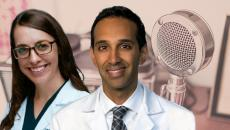 Dr. Eberly and Dr. Adusumalli's headshots in front of a microphone