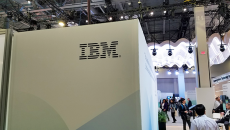 IBM outpost with logo at a HIMSS event