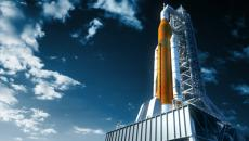 Rocket with space shuttle