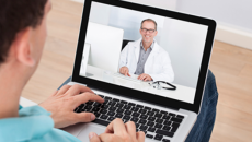 Telehealth consultation on laptop