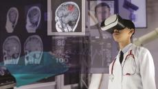 Virtual reality goggles and medical images.