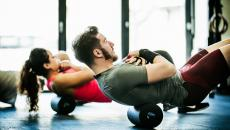Man and woman in workout class