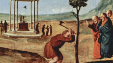 Painting of a man chopping a tree