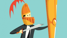 Businessman with shield and sword