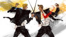 illustration of two businessmen swordfighting