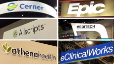 epic, cerner, allscripts, meditech signs from HIMSS18 convention booths