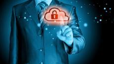 Man pushing cloud security button