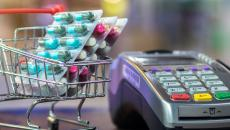 Shopping cart containing pills.