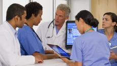 doctors meeting and sharing data in a hospital
