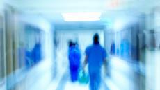 Busy hospital hallway