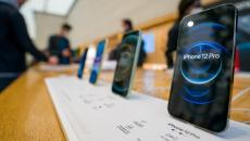 An iPhone 12 pro in an Apple store