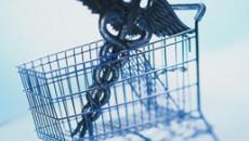 Caduceus and shopping cart