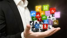 Man holding app icons