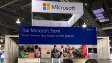 The Microsoft booth at HIMSS