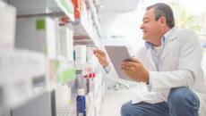 A pharmacist looks at shelving