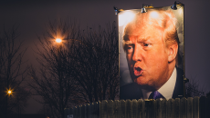 Donald Trump Backyard Photo Sign at Night - West Des Moines, Iowa