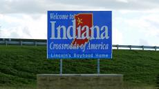 "A ""Welcome to Indiana"" sign"