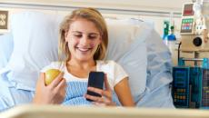 Young patient with smartphone
