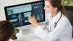 Doctor explaining medical display