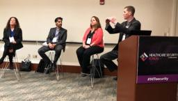Anah Santiago of Christiana Care Health System, Omar Khawaja of HM Health Solutions, Denise Anderson of H-ISAC and Brian Selfridge of Meditology Services, discuss risk management at the Healthcare Security Forum in Boston.