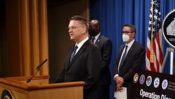 DEA Acting Administrator Timothy Shea stands at a lectern