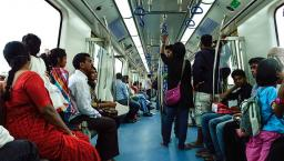 People on a train in India.