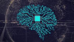 A stylized brain illustration formed with wires, to convey artificial intelligence