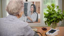 Senior doing telehealth consultation