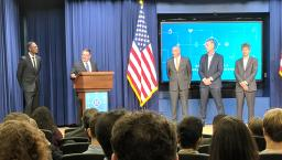 Amazon, Google, IBM, Microsoft, Oracle and Salesforce representatives speaking at the White House in Washington, D.C.