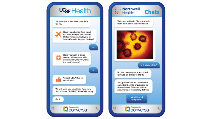 Northwell, UCSF, UNC using chatbot and related tech to manage COVID-19 patients