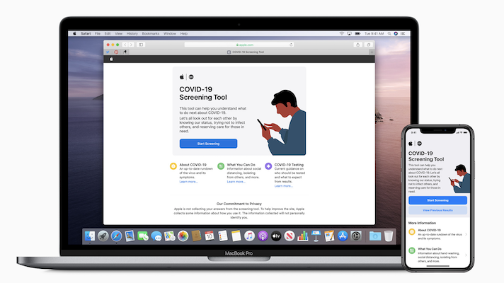 Screens from Apple's online and app-based COVID-19 symptom checker