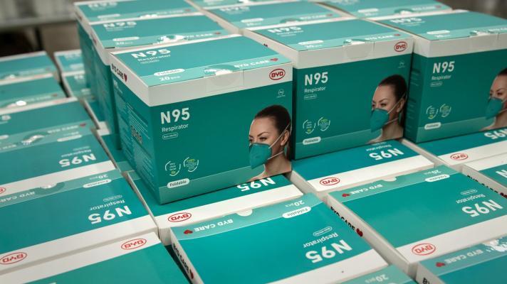 Stack of N95 masks
