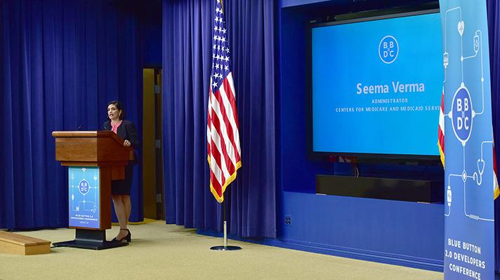 Seema Verma speaking at the White House Blue Button 2.0 Developer Conference on Monday