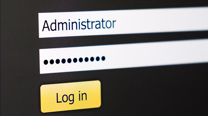 administrator login screen