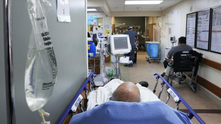 A patient in a hospital bed