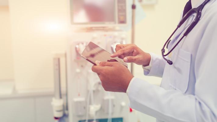 Doctor using smartphone