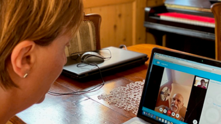 Woman talking to doctor on a telehealth video chat