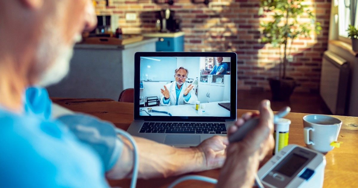 Person attending telehealth appointment