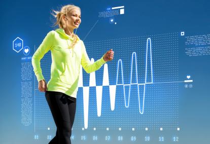 Woman walking with wearable tech
