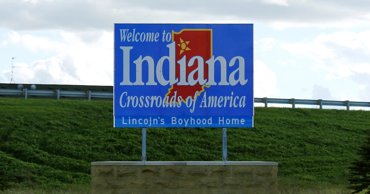 """A """"Welcome to Indiana"""" sign"""